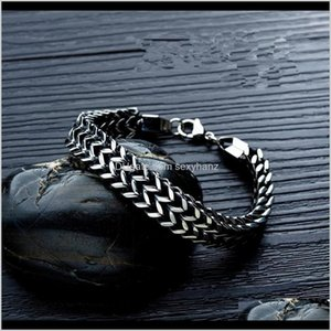 Link, Fashion Mens Stainless Steel Chunky Chain Link Bracelet Jewelry Men Hip Hop Design Double-Layer Vintage Fish Scale Bracelets For Yido1