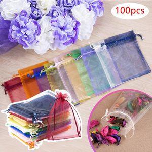 Gift Wrap 100pcs lot 7x9cm Wholesale Drawable Favor Organza Bags Jewelry Packaging & Pouche Multicolors Wedding Christmas Party