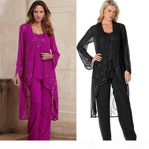 Chic Three Pieces Beading Mother of The Bride Pant Suits With Jacket Long Sleeves Wedding Guest Dress Chiffon Sequined Plus Size