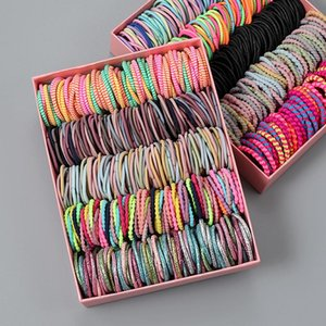 100pcs lot Hair Bands Girl Candy Color Elastic Rubber Band Child Baby Headband Scrunchie Accessories For