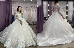 Glamourous 3D Floral Flowers Lace Ball Gown Wedding Dresses 2021 Off the shoulder with 3 4 Illusion Sleeves Reception Dress bridal Gowns