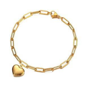Kpop Heart Charm Bracelet Wholesale Braclet Gold Silver Color Stainless Steel Chain Bracelets For Women Jewelry Female 2021
