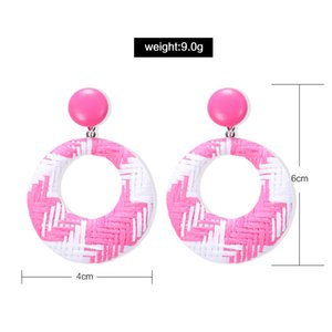 Bohemian Straw Woven Dangle Earrings Lafite Straw Big Hoop Round Circle Earring for Women Girls Wholesale Jewelry 115 G2