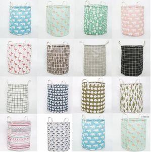 Laundry Basket Cylinder Fabric Folding Clothing Storage Bucket Kids Toys Storages Barrel Home Organizer 14style HWC7040