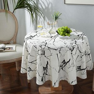 Table Cloth Tablecloth Modern Simple White Marble Print Round Decoration Coffee Living Room Cover