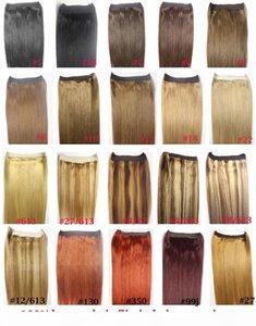 "ZZHAIR 16""-32"" 100% Brazilian Remy Human hair Halo Hair Flips in on Human Hair Extension 1pcs set Non-Clips 80g-200g"