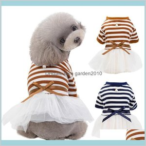 Dog Apparel Supplies Pet Home & Garden Pet Stripes Pearls Gauze Tutu Dress Skirt Puppy Cat Princess Clothes Cotton Short Sleeves T-Shi