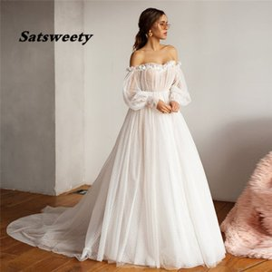 2021 High-end Design Bride Gown Off shoulder Puffy Long Sleeve Dot Tulle Wedding Dresses for Bridal Sexy Open Back 3D Flower Custom Made