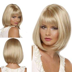 Peruca de Cabelo Humano Perucas Bobo Head Wig com franja