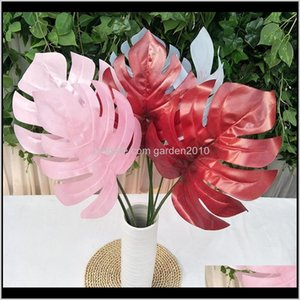 Wreaths Colored Tropical Palm Fake Monstera Leaves Plastic Decorative Flowers Wedding Road Leading Artificial Plants For Lpm7 Okgdn