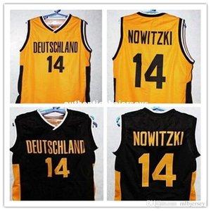 Cheap # 14 Dirk Nowitzki Team Deutschland Германия Баскетбол Джерси Черный Золотой Ретровь Решенные рельсики Мужская XXS-6XL Вышивка Джетки