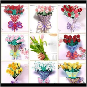 Event Festive Party Supplies Home & Garden Drop Delivery 2021 Mothers Day Greeting Cards Postcard 3D Pop Up Flower Thank You Mom Happy Birthd