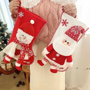 Christmas Stocking with Knitted Santa Snowman Xmas Character for Family Holiday Party Hanging Decorations FWB11200