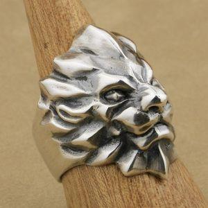 Marke Linsion Schwere 925 Sterling Silber Abstrakte König Lion Ring Herren Biker Rock Punk Ring TA01 US Größe 7 ~ 15