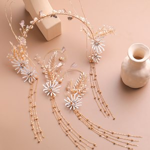 Korean Style Exquisite Tassel Bridal Hair Band Earrings Set Pearl Golden Headband Ear Hanging Wedding Gown Dress Jewelry Women