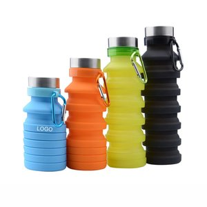500ML Portable Retractable Silicone Bottle Creative Folding Water Bottles Outdoor Cycling Travel Drinking Cup Carabiner Collapsible Cups ZXFTL0829