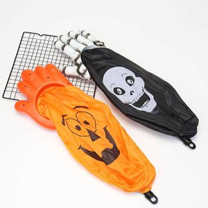 Skeleton Hand Halloween Candy Bag Skull Pumpkin Gift Bags Kids Children Trick Or Treat Candy Sack Animated Scary Skull Pumpkin Print Hallowmas Party Decor G82C2LI