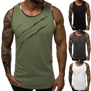 Summer Men's Tank Top Sleeveless Bodybuilding Gym Vest Singlet Hole Fitness Muscle Tee Shirt Homme Male Tanktop Plus Size M-2XL