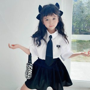Clothing Sets Girls Outfits Baby Clothes Children Suit Kids Summer Cotton Short Sleeve Necktie Shirt Shirts Skirts 2Pcs 2-7Y B4579