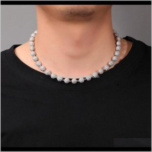 Beaded Necklaces 85Mm Solid Round Bead Chain 14K White Gold Diamond Blind Necklace 1618Inch Hip Hop Jewelry For Men Women Gifts 42Nru Npabv