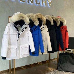 디자이너 망 캐나다 거위 조끼 자켓 캐나다 스타일 남성 Gooed 자켓 코트 남자 여자 후드 고품질 겨울 자수 흰색 오리 아래로 코트