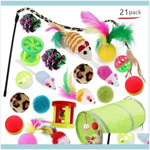 Supplies Home & Garden21Pcs Toys Kit Collapsible Tunnel Toy Fun Channel Feather Balls Mice Shape Pet Kitten Dog Cat Interactive Play Drop De