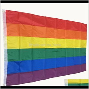 Flags 3X5Ft 90X150Cm Lesbian Gay Pride Lgbt Banner Polyester Colorful Rainbow Flag For Decoration Iia461 Qcrzh 3Lii4