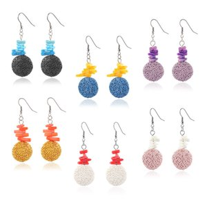 Bohemia Retro Lava Stone Charms Earrings DIY Essential Oil Diffuser Jewelry Women Volcanic beads Earring