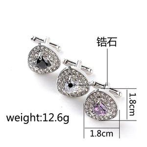 Lujo corazón de cristal Diamante Gemelos Gemelos Botón de manga para mujer Camisas Camisas Trajes de vestir Gemelo Joyería de boda Regalo 170605 856 Q2