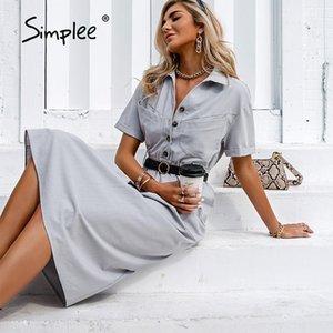 Simplee Casual Light Grey Grey Vita a vita alta Vestito da donna Solid manica corta Abiti estivi 2021 Abbigliamento moda Maxi Vestidos