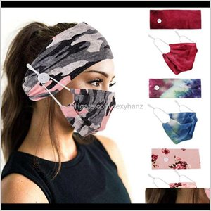 Clothing Fabric Apparel Drop Delivery 2021 Holder Headbands With Button Tie Dye Fashion Face Mask Floral Camo Masks Women Sports Yoga Elastic