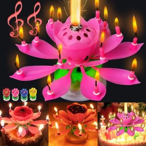 Musical Birthday Candle Magic Lotus Flower Candles Blossom Rotating Spin Party Candle 14 Small Candles 2layers Cake Topper decoration with box