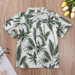 Baby Boy T Shirt Summer Tropical Bohemia Short Sleeve Palm Pineapple Printed Kid Collar Shirt With Button short-sleeved 54 Z2