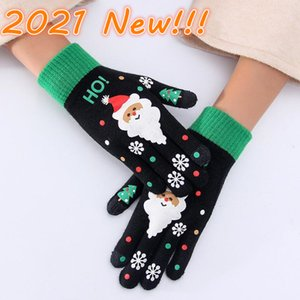 New Kids Adult Christmas Glove Full Finger keep Warm Knitted Gloves knitting Snowflake Five Fingers Gloves New Year Party Gifts Wholesale 2021