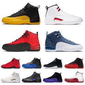 Nikeair jordanretro 12jordans12soffwhite Avec Boîte Mens 12s Chaussures de basket Flu Game XII Dark University Gold Stone Blue Hommes Traperateurs Jumpman 23 Sports Sneakers