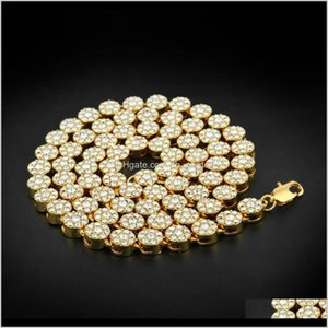Chains Mens 1 Row Cluster Iced Out Yellow Gold Plated Hip Hop Cz Men Chain Necklace Jewelry Kka2060 Mdv9M Zbwcy