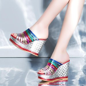 Rainbow Slope Heel Sandals Women's Summer Leather Inside Muffin Thick Sole Super High Shoes 11cm Slippers