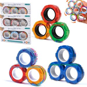 Magnetic Rings Fidget Spinner Toys for Anxiety Relief Stress Sensory Toy Therapy Fidgets Ring Pack Adults Teens Kids