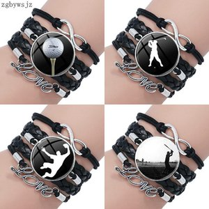 Golf Player Harajuku Style Jewelry With Plated Glass Cabochon Multilayer Black Leather Bracelet Bangle For Women Kids Charm Bracelets