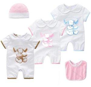 Summer Baby Clothes Rompers Unisex Cartoon Cotton Newborn Toddler Designer Boy Girl Romper Hat Bib 3Pcs Set Infant Jumpsuits Clothing