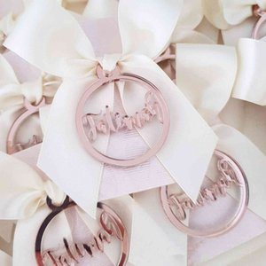 50 Pcs Personalized Laser Cut Baby Name Rose Gold Mirror Round Decor For Baptism Christening Customized Circle Tags Bags Favors 210408