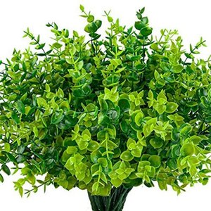 Pack Artificial Greenery Outdoor Plants Plastic Boxwood Shrubs Stems For Home Farmhouse Garden Office Wedding Decorative Flowers & Wreaths