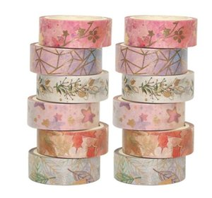 6rls Flower Floil Washi Cinte Set Masking Washi Cinta Conjunto Etiqueta decorativa Etiqueta adhesiva DIY para el planificador de scrapbooking 523 V2