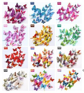 2021 3D Double-layer simulation butterfly decoration wall stickers 12pc 3d butterflies 3d butterfly pvc removable wall stickers DHD6146