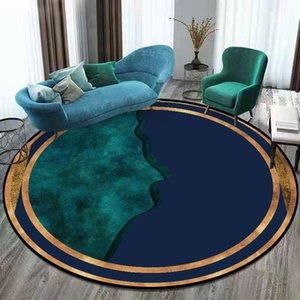 Carpets Area Rug For Living Room Modern Dark Blue Green Gold Pattern Luxury Round Carpet Polyester Mats Bedroom Decor