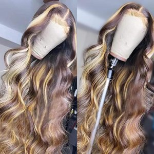 Lace Wigs 4-27 Colored 13X4 Highlight Wavy Front Human Hair Brazilian Pre Plucked With Baby