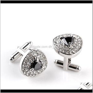 & Tie Clasps, Tacks Drop Delivery 2021 Luxury Heart Crystal Diamond Cufflinks Cuff Links Sleeve Button For Women Men Shirts Dress Suits Cuffl