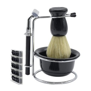 5 en 1 barbe barbe savon bol / étagère / mousse nettoyage brosse de rasage pour hommes