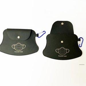 Portable Mask Storage Bags Keychain Carabiner Reusable Dust Masks Bag Keyring Pendant Fashion PU Leather Car Key Chain 5 Colors FWE5964