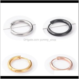 & Hie Jewelry Drop Delivery 2021 Trendy Round Small Hoop 8Mm-16Mm 316L Stainless Steel Sie Rose Gold Black Simple Party Earrings For Women N1